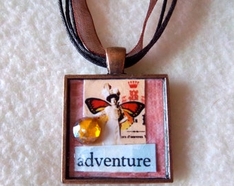 "Collage Pendant Necklace No.19 - ""Adventure"""