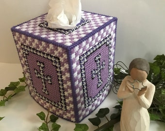 Tissue Box Cover,Purple and White,Silver Celtic Cross,Handmade Tissue Box Cover,Handmade Tissue Holder, Housewarming Gifts,Home Decor