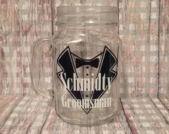 set of 5 groomsmen glasses, set of 5 groomsmen mason jars, groomsmen gifts, wedding party gifts, groomsmen mason jars, personalized glasses