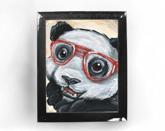Cute Panda Bear Art, Any Size Print, Nursery Decor, Red Glasses, Nerd Love, Geeky Wall Art, Zoo Animal Lover Gift
