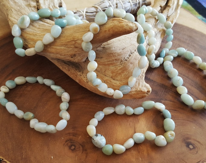 Amazonite stretchy bracelet ~ 1 Reiki infused gemstone tumbled bead bracelet approx 8 inches