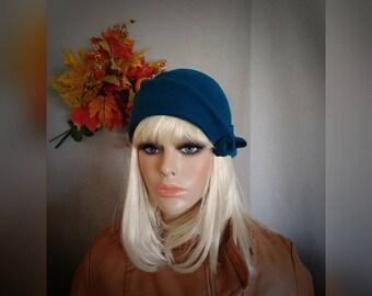 Teal. Cloche. Hat. Felt. Wool. Blue. 1920s. Vintage. Style.
