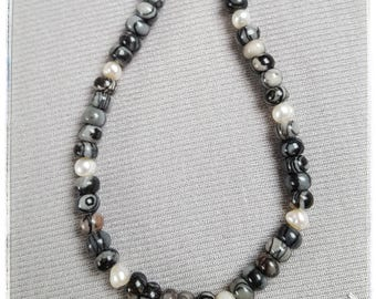 Picasso-Jasper with freshwater pearls