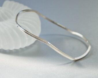 Wavy  Silver  Bangle  |  Stacking Bracelet  |  Sterling Bangle  |  Freeform Design
