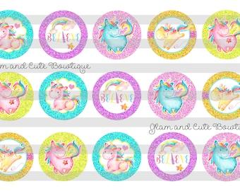 "Unicorn watercolor Believe in Unicorns INSTANT DOWNLOAD Bottle Cap Images 4x6 sheet 1"" circles"