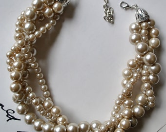 Custom Order Only: Chunky Pearl-4 Strand- Twisted Statement Necklace