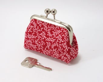 Kiss lock metal frame change purse, red, white & silver color / Coin purse with clasp / White leaves printed on red / Big balls