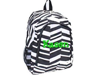 Personalized Black and White Geometric Print School Size Backpack Book Bag  - Monogrammed Name or Initials 73b942959fd4c