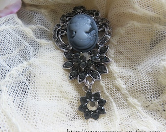 Elegant Gothic with Rhinestone and cameo brooch in resin