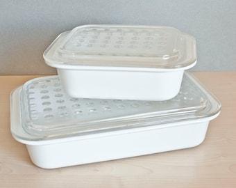 "Vintage Corning Ware ""Fast Food Dish"" Rectangular Microwave Baking Dishes with Bubble Lids, MC-1-B, MC-2-B"