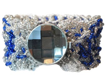 Blue And Silver Crochet Bracelet With Faceted Centerpiece Clasp