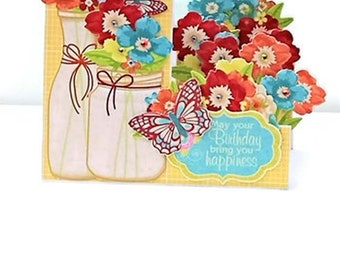 Step Card - Birthday Card - Bouquet- Dimensional Card - 3D Card- Unique Gift Ideas – Birthday - Floral Card - Card for Her - Unique Card