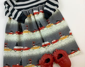 Christmas dress in 12 months -ready to ship -christmas cars and trees - black and red - holiday - baby girl - outfit