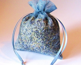 Sachet Lavender china blue color 6 Pack Organic dried Lavendar 3x4 filled organza bags aromatherapy