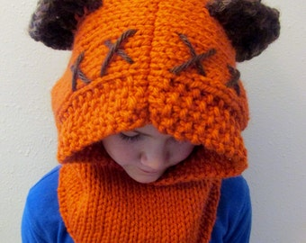 PATTERN ONLY: Furry Forest Friend Hood, Star Wars Ewok Inspired Cowl, Instant Download, DIY, Knitting Pattern, knit costume, cosplay