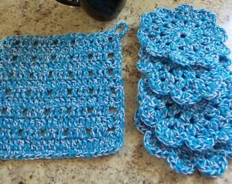 Crochet coaster, crochet washcloth, set of 4, crocheted coasters