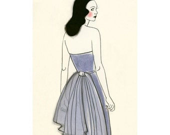 Fashion drawing - The Countess  -  4 X 6 print *4 for 3 SALE*