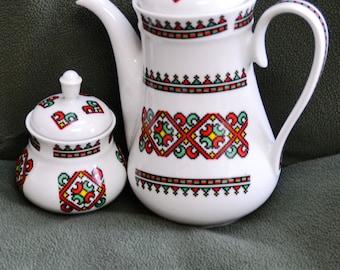 JOHANN SELTMANN VOHENSTRAUSS Bavaria.. White Porcelain Tea/Coffee Pot/Sugar Bowl..Geom. Red Grn. Yel. Vint 70s, (Creamer no cost sm. crack)
