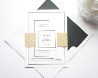 Gold Wedding Invitations, Black and Gold Wedding Invitation, Gold Glitter, Black Calligraphy, Formal Wedding Invitation Set - SAMPLE SET