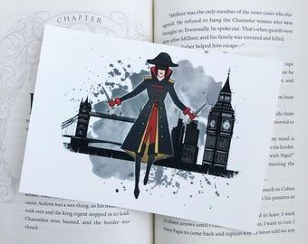 "Lila Bard watercolor Art Print, bookish gift, item. 5"" x 7"""