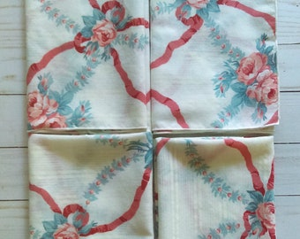 Set of 4 Vintage Roses and Ribbons Napkins/ Tablescape/ Mother's Day/ Garden Party/ Shabby Chic