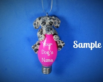 Blue Merle Great Dane Natural ears Christmas Holidays Light Bulb Ornament Sally's Bits of Clay PERSONALIZED FREE with dog's name