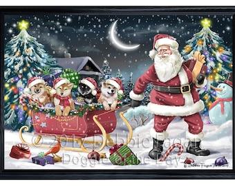 Merry Christmas Happy Holiday Santa Sled Shiba Inu Dog Framed Canvas Print Wall Art