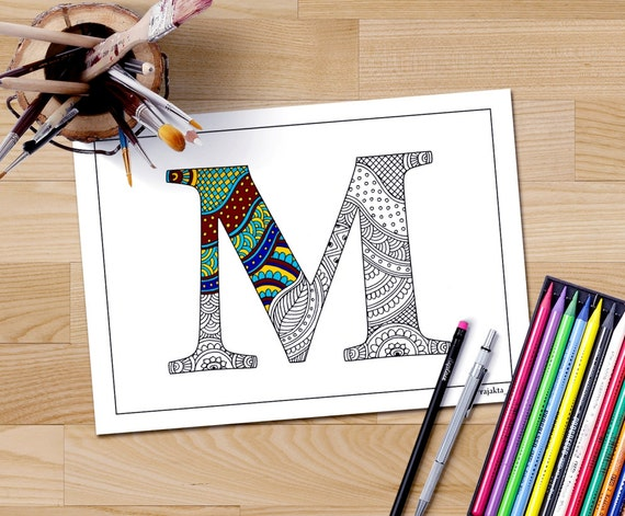 Letter S Coloring Pages Alphabet : Adult coloring book download zentangle alphabet letter