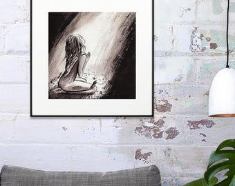 NEW Anjali Mudra Namaste yoga illustration home decor art print