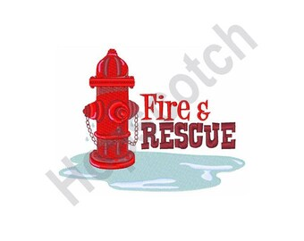Fire And Rescue - Machine Embroidery Design, Fire Hydrant