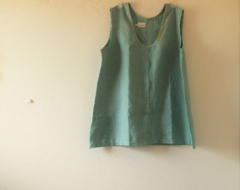 READY TO SHIP  / linen tunic / scoop / duck egg blue / plus size womens linen clothing / made in australia / pamelatang