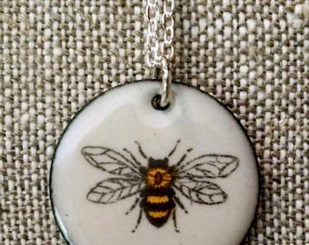 Honeybee Bee Honeycomb Illustrated Enamel Pendant Necklace