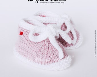Baby girl pink and white spirit wool mesh sneaker with the Mare hand knitted lace ' stitch