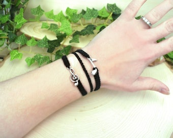 Hemp Music Bracelet - 3 in 1 Treble Clef and Eighth Note Charm Bracelet - Musician Piano Choir Singer Gift - Musical Jewelry Accessories