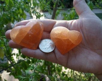 Peach Selenite Heart, Heart Carving, Crystal Heart, Crystals, Selenite, Orange Selenite, Palm Stone, Gift