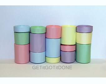 "Pastel Grosgrain Ribbon Lot: Choose 1 or 2 yards EACH of 15 different ribbons  (3/8, 7/8 and 1.5"" Pastel Solids)"