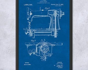 Framed Sewing Machine Patent Art Print Gift, Quilting Gift, Sewing Gift, Framed Patent Print, Framed Patent Art, Framed Print, Home Decor