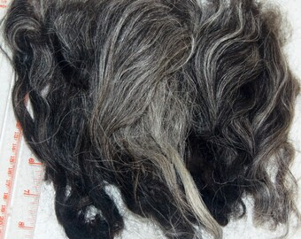 Karakul Sheep Wool Locks for Spinning Felting and Doll Hair, Doll Wig, in Natural Shades of Charcoal Gray and Black 1 oz.