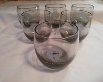 Vintage Set of Six Packer Glasses - Roly Poly Glasses - Green Bay Packer Glasses - NFL Glasses - Man Cave - Green Bay Packers Glasses