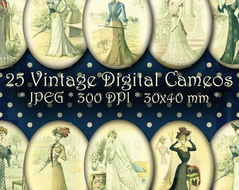 INSTANT DOWNLOAD Vintage Digital Cameos - Digital Ovals 30x40 mm - Vintage Fashion Illustrations - for Jewelry, Scrapbooking and Crafts