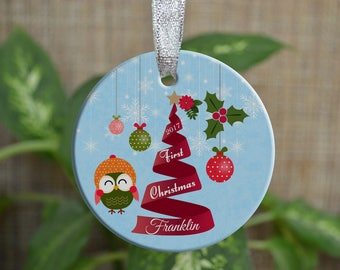 Personalized Christmas Ornament, Baby First Christmas ornament, Custom Ornament, Newborn baby gift, Owl ornament, Boy, Christmas gift. o031