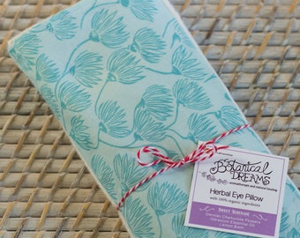 Organic Eye Pillow: w/ Chamomile, Lemon Balm, and Geranium. Yoga Essentials. Blue & White.