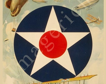 World War 1 Poster - Join the Air Service--Learn-Earn