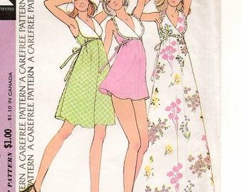 "A Sleeveless High-Cut Armhole, Back Tie Maxi, Above-Knee & Mini Dance Dress w/Panties Pattern for Women: Size 8 Bust 31-1/2"" • McCall's 3561"