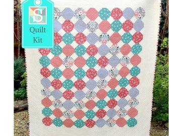 Snowballs Around the World Quilt Kit - Charm Square Quilt, Craft Kit, Handmade Quilt, Make Your Own Patchwork Quilt