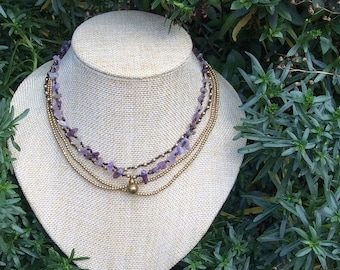 Amethyst Layer Beaded Tribal Necklace m19