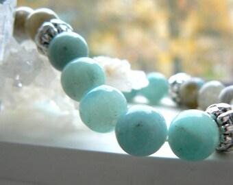 Amazonite gemstone stretch bracelet- Labradorite stretch bracelet- Blue grey stone bracelet- boho jewelry- Fashion bracelet-Women gift
