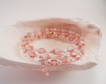 Pale Pink and Clear Memory Wire Bracelet