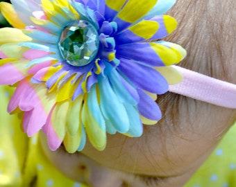 Easter Headband.Pastel Headband.Baby Easter Headband.Girls Easter Headband.Tie Dye Headband.Pink Headband.Flower Headband.Spring Headband