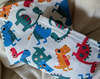 """Child Snack Bags, Reusable Sandwich Bags, Eco Friendly Bags, Grab Bag Gift, Party Favor, """"Colorful Dinosaurs!"""""""